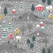 Lewis & Irene - Snow Day - 5961 - Snowy Scene on Grey, Pearlescent - C34.3 - Cotton Fabric